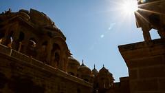 Silhouette of royal cenotaphs in Bada Bagh, Jaisalmer, India ジャイサルメール バダ・バーグのシルエット (travelingmipo) Tags: travel photo india asia 旅行 写真 インド アジア rajasthan ラジャスタン ラジャスターン goldencity ゴールデン・シティ jaisalmer ジャイサルメール badabagh barabagh バダ・バーグ architecture cenotaph chhatri arch dome pavilion monument sunlight