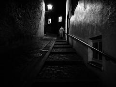 step by step... (Sandy...J) Tags: night noir darkness monochrom blackwhite bw streetphotography atmosphere urban olympus