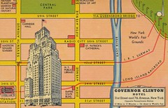 Hotel Governor Clinton - New York, New York (The Cardboard America Archives) Tags: newyorkcity newyork vintage hotel map linen postcard 1939