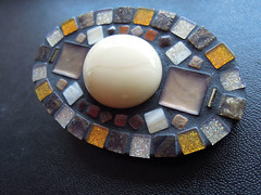 Brown_mosaic_decorated_wooden_brooch (modeco.lt) Tags: mosai