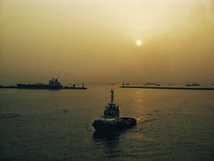 Sunrise at Tema (mattmigration) Tags: dock ship ghana tugboat accra tema