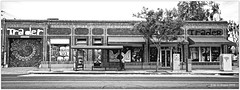 Jul 2, 2015: Street Art, North Park Trader Sign (mueflickr) Tags: ca street bw panorama usa building sandiego kodak scan publicart xpan 45mm facebook bw400cn sep5 borderfx fr17 northparktrader