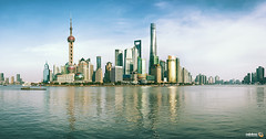 Shanghai Panoramic (Andy Brandl (PhotonMix)) Tags: china shanghai cityscape skyline skyscrapers reflections huangpuriver pudong orientalpearltower shanghaitower jinmaotower swfc panorama nikon photonmix metropolis