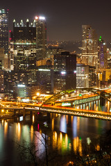 Pittsburgh Nights (rand0m05) Tags: pittsburgh bridges bridge night nightphotography light lights colors reflection river city cityscape canon canoncamera canonphotography canon50d 50d longexposure cityofbridges