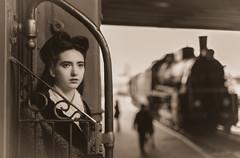 Arrival #2 (Ash and Debris) Tags: portrait sepia retro beauty case locomotive girl car beautiful travel railroad train railwaystation trip railway old journey station transport look