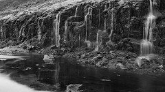 in the realm of nyads and other fairies (lunaryuna) Tags: iceland northwesticeland westfjords mthestur slopes meltdown spring season meltwater waterfalls wetwall nature landscape beauty blackwhite bw monochrome le longexposure
