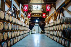 Barrel Corridor (Photographer X™) Tags: westland distillery tour seattle washington sodo nikon coolpixa inradventures photographerx whiskey barrels cask chill dog kapono pooch