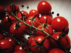 Colander (J.C. Moyer) Tags: colander tomatoes kitchen vegetables healthy rustic colour ref white green tomatovine vine colourful color