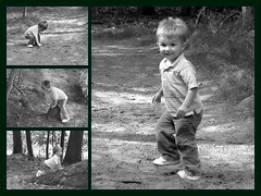 Boys Will Be Boys (SpringChick) Tags: statepark boy bw forest austin fdsflickrtoys hiking michigan mosaic hike letterboxing trail michiganparks muskegon 2yrs muskegoncounty