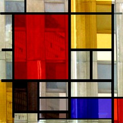 Playing again with Mondrian (Christine Lebrasseur) Tags: street blue red white paris france reflection tower art 6x6 window lines dedication yellow architecture canon 350d poetry squares quote mosaic montparnasse mondrian 500x500 winner500 allrightsreservedchristinelebrasseur