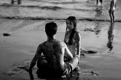 Muddy Love (John Ashburne) Tags: bw bali white black love beach indonesia blackwhite couple asia mud teens romance relationship ashburne  jfajapan  johnashburne