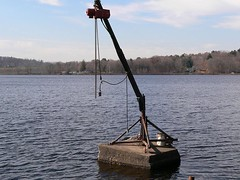 Boat Crane (Reinalasol) Tags: 2005 sunlight lake sailboat boats boat chains bucket flickr sailing autumn2005 connecticut fall2005 ct shift catamaran boating morris sailboats yachtclub waterscape bantamlake boatcrane blyc reinalasol morrisct