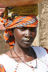 Peul - lady, Mali (Ferdinand Reus) Tags: africa travel portrait people girl beauty smile niger lady work mouth nose women faces traditional religion culture ring nosering mali tribe tombouctou ebony djenne mopti afrique theface developingworld charismatic bani  peul calabas animist