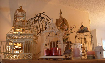 birdcages with candles