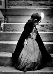 Masquerade ({amanda}) Tags: girl cemetery kids stairs costume child mask dressup masquerade cloak bnw masque pretend threeyears amandakeeysphotography