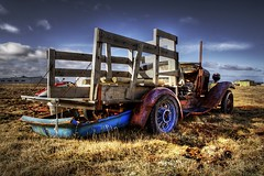 Not goin' anywhere ... (asmundur) Tags: wood abandoned broken car truck iceland rusty sunny 2006 april happyeaster photomatix nottoday singleexposure nothdr
