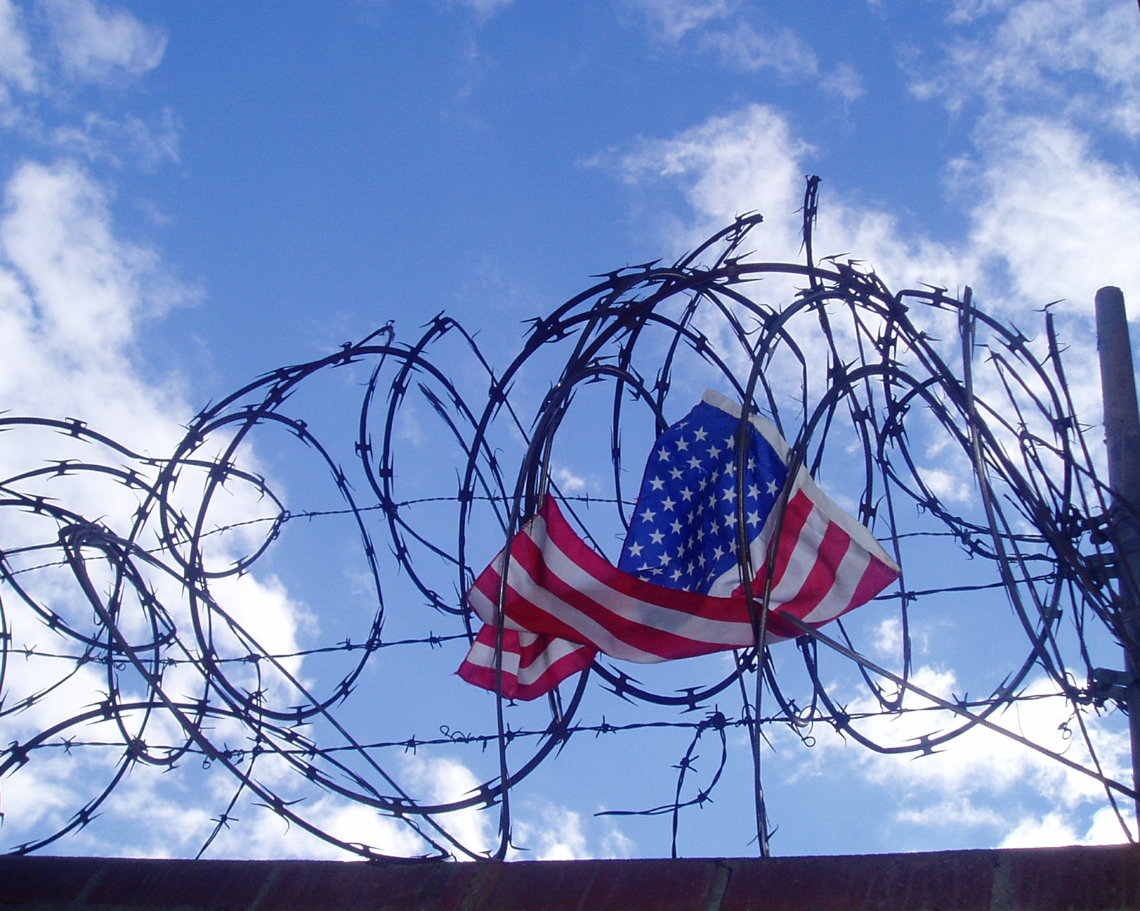 Flag in barbed wire