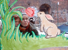 invading the bunny's personal space (eatsdirt) Tags: nyc flower bunny window brooklyn dumbo kisses photostroll moufle nycsocial lasadh jacquestorreschocolates