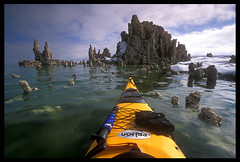 Approaching Castle Tufa, Mono Lake (Buck Forester) Tags: bravo kayak paddle velvia kayaking monolake paddling buckforester brianernst