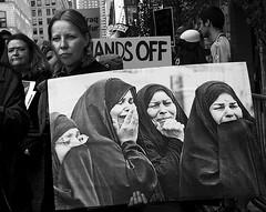 Hands Off (mkaggen) Tags: bw streetart women war peace iraq protest hijab streetphotography antiwar womensday cityofwomen diamondclassphotographer flickrdiamon