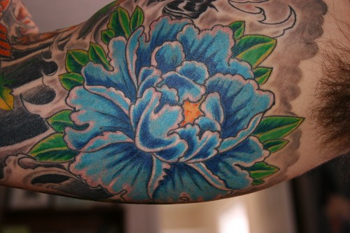 Sleeve Tattoo Blue Hibiscus Flower