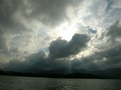 Heart-shaped cloud (yewco) Tags: light beach hongkong heart rays  kiutsuibeach