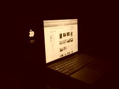apple logo in mirror (thepetpoet) Tags: apple powerbook macintosh mac k750i 12