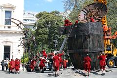 Little Red Men (MykReeve) Tags: street wood people men london tarmac wooden crane spaceship puppeteer waterlooplace puppeteers royaldeluxe sultanselephant thesultanselephant