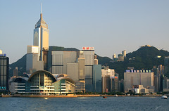 Convention Center Before Sunset (Steve Webel) Tags: china sky water hongkong boat junk minolta harbour central victoria conventioncenter   fishingboat chinesejunk victoriaharbour maxxum5d dynax5d webel  shuioncentre top20flickrskylines