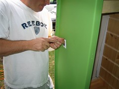 Boler Week 11: Attaching the Light Switch for Exterior Porch Light (petramarcemilyaudrey) Tags: restoration trailer fiberglass rv camper 1976 traveltrailer refurbish refurbishing boler