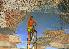 cOuLd iT bE a MiRRoR oN tHe fLoOr? (neloqua) Tags: light boy summer sunlight reflection water beautiful rain bike wonderful wonder fun puddle mirror daylight fantastic perfect colorful miracle sunny bluesky clear illusion imagination mirage summertime moment lovely charming magical sunnyday bycicle distortions