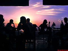Cozy Sunset (^riza^) Tags: sunset shadow sky bali silhouette june indonesia cafe sonyericsson 2006 smoking w800i thebiggestgroup indonesianphotobloggers