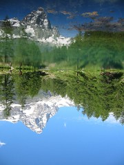 Oltre lo specchio (Dav.id) Tags: trip travel blue trees summer vacation italy mountain lake alps reflection green nature water landscape peace upsidedown noflash alpine stillness cervinia clearwater splendour paradisegardens
