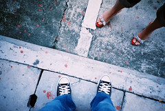 Our Shoes (GenkiGenki) Tags: chris people film me foot shoe office lomo lca alley singapore fuji backalley superia converse mae fujifilm superia400 32mm tanjongpagar trasstreet efusion