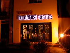 Cambridge Buddhist Centre entrance at night
