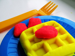 Playdoh Waffle (Pewari) Tags: toy strawberries plate fork monthlyscavengerhunt playdoh waffle monthly hunt scavenger interestingness205 i500 msh0606 msh060616 explore24jun06