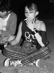 New wave (For_reasons_unknown) Tags: people bw italy music clock girl night belt punk cigarette piercing teen bier krakatoa allstar lecco newwave calco coller