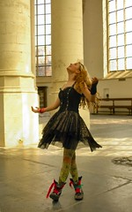 Dances in Churches (smiling_da_vinci) Tags: woman silly girl happy leiden funny dancing gothic cheerful rowan graceful hooglandsekerk
