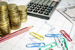 finance business calculation with chart,calculator,color clips,pencil and coins (mikhafff1984) Tags: pencil red graph tax market statistics numbers spreadsheet business plan pen bank budget paper account work financial document economy success finance data stock report balance calculation accounting management chart money calculator profit information trade investment commerce office banking