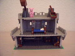 3LittlePigsCastle03 (Dursaflare) Tags: wood houses house brick castle clock stone fun three wolf humorous wind little humor piano straw blow couch sofa pigs cheesy wolves catapult blown