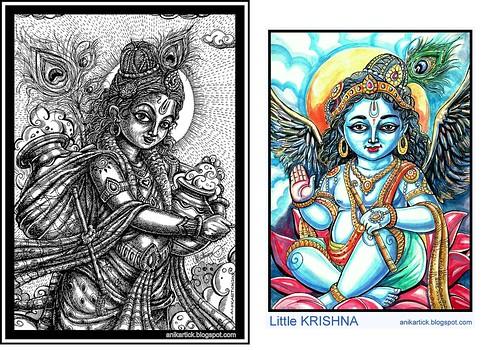 Little Krishna takes the clouds of butter Pot-Anikartick Artist - Copy