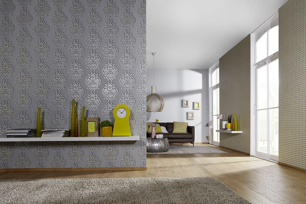 Wandidee wohnzimmer petrol for Tapete petrol grau