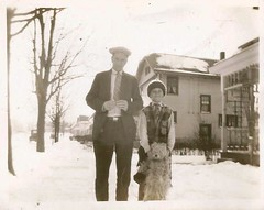 """Ed Ott, Roy Propheter, Lady Dallenbach- Jan. 19, 1930"" (912greens) Tags: houses snow cars dogs boys kids 1930s sidewalks streetscenes exteriors folksidontknow"