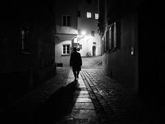 the third man (Sandy...J) Tags: olympus atmosphere blackwhite monochrom noir darkness streetphotography urban night shadow