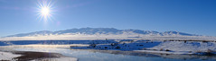 Steamy winter panorama (brian eagar) Tags: landscape outdoor nature america day daytime daylight sun sunstar sunbeam beam light snow white ice steam steamy cloud mountain hill outside scenery scene shot capture fuji fujifilm fujinon xf xf23f2 xf23f2wr xt2 fujixt2 velvia blue grey gray sky atmosphere winter 2017 january 16th 1162017 serene cold frigid clear clean natural bright countryside country boxeldercounty utah camera usa us handheld pano panorama lake water reflection shadow