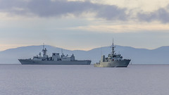 HMCS Ottawa and Yellowknife (Paul Rioux) Tags: royal canadian navy ship vessel hmcs ottawa 341 yellowknife 706 military naval marine maritimecommandpacific frigate kingston class salishsea ocean morning olympicmountains outdoor prioux