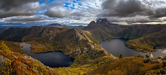 Cradle Mountain and lakes (Bjorn Baklien) Tags: hansonspeak dovelake landscape cradle mountain tasmania australia lake panorama clouds water sunset