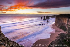 Apostle Sunset (James Whitlock Photography) Tags: australia melbourne victoria great ocean road 12 twelve apostles waves sea stack rock limestone view viewpoint sun sunset colour light fire cloud cliff edge beach sand nikon d810 lee filters gitzo