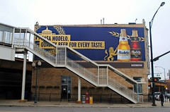 Stairs to the Blue Line, Western Ave. Chicago (Cragin Spring) Tags: elevated stairs l westernave advertisement modelo beer steps building piwo bier bucktown city northside chicago chicagoil chicagoillinois chitown windycity illinois il midwest urban usa unitedstates unitedstatesofamerica blueline