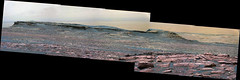 Butte on a Slope, variant (sjrankin) Tags: 14january2017 edited panorama nasa mars msl curiosity galecrater mountains slope butte sky haze